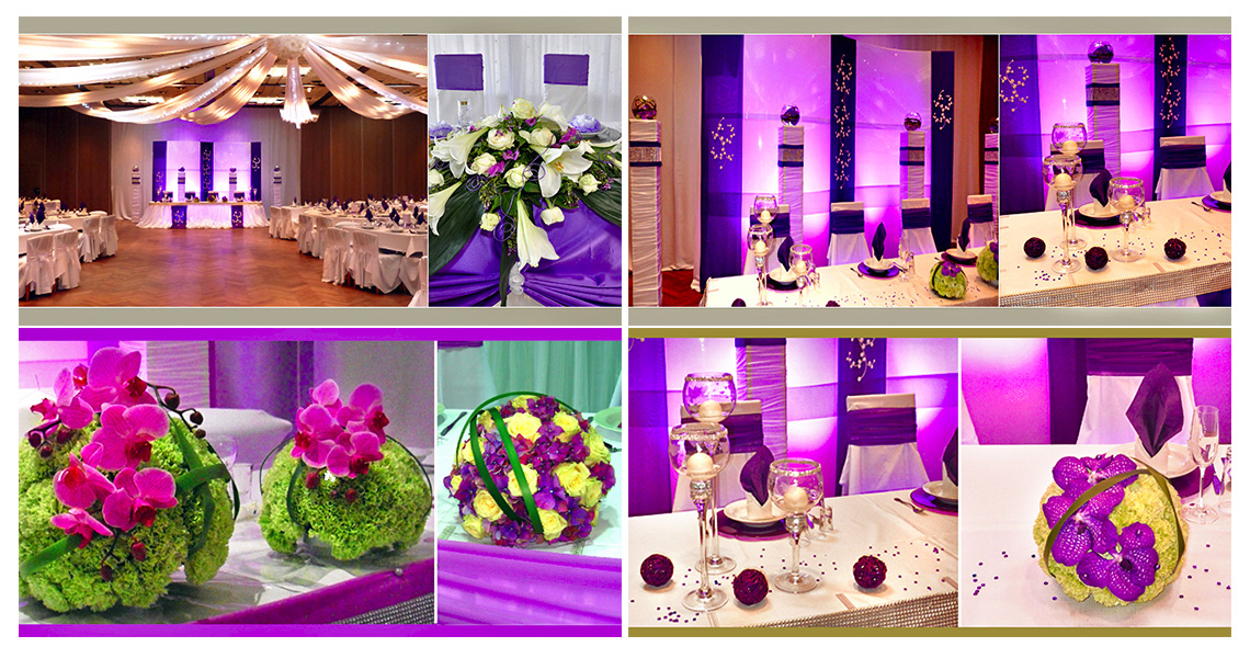 Purple wedding tables & flowers 2014