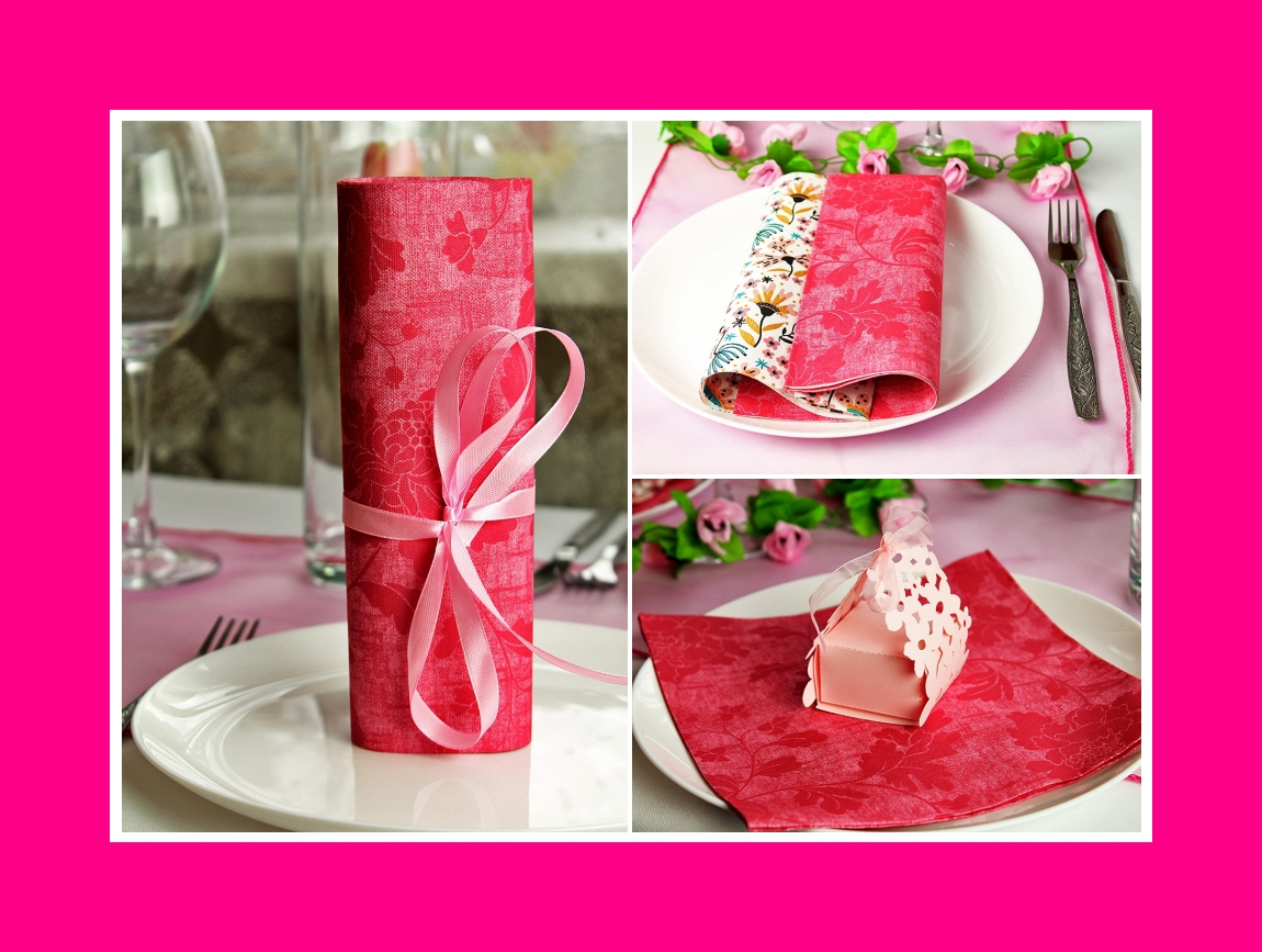 Folded napkins colored pink