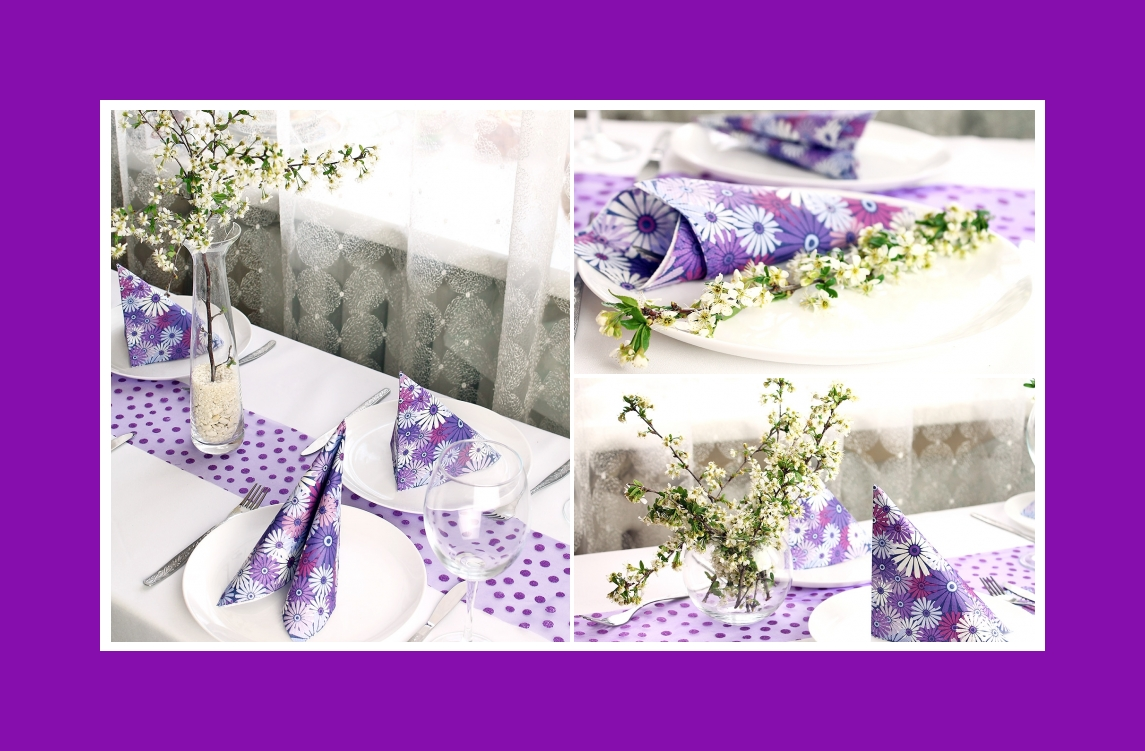 Napkins & flower decoration at home