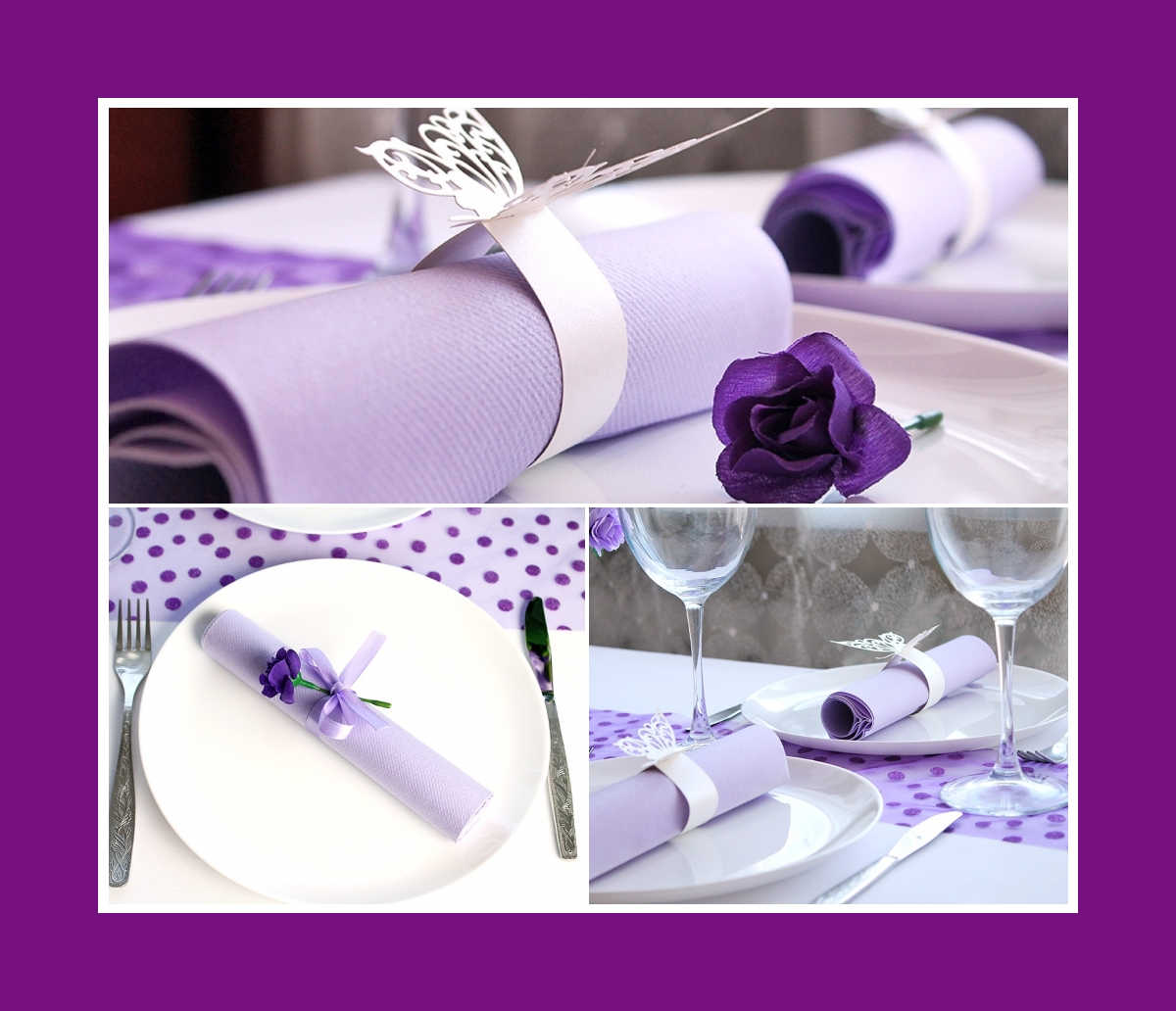 Purple colored & folded decoration napkins