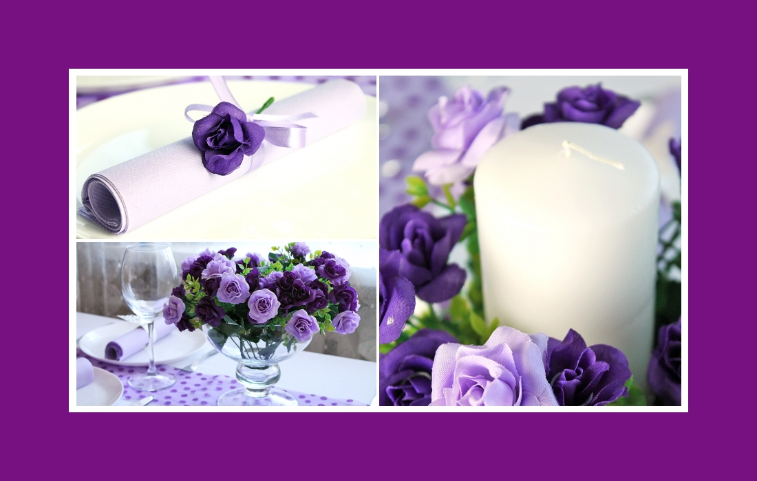 Purple colored deco for birthday party